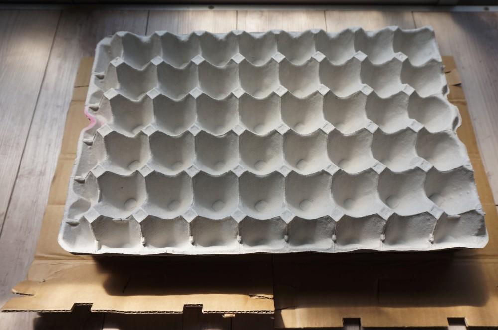 中に卵割れ防止の緩衝材を二枚重ねて
