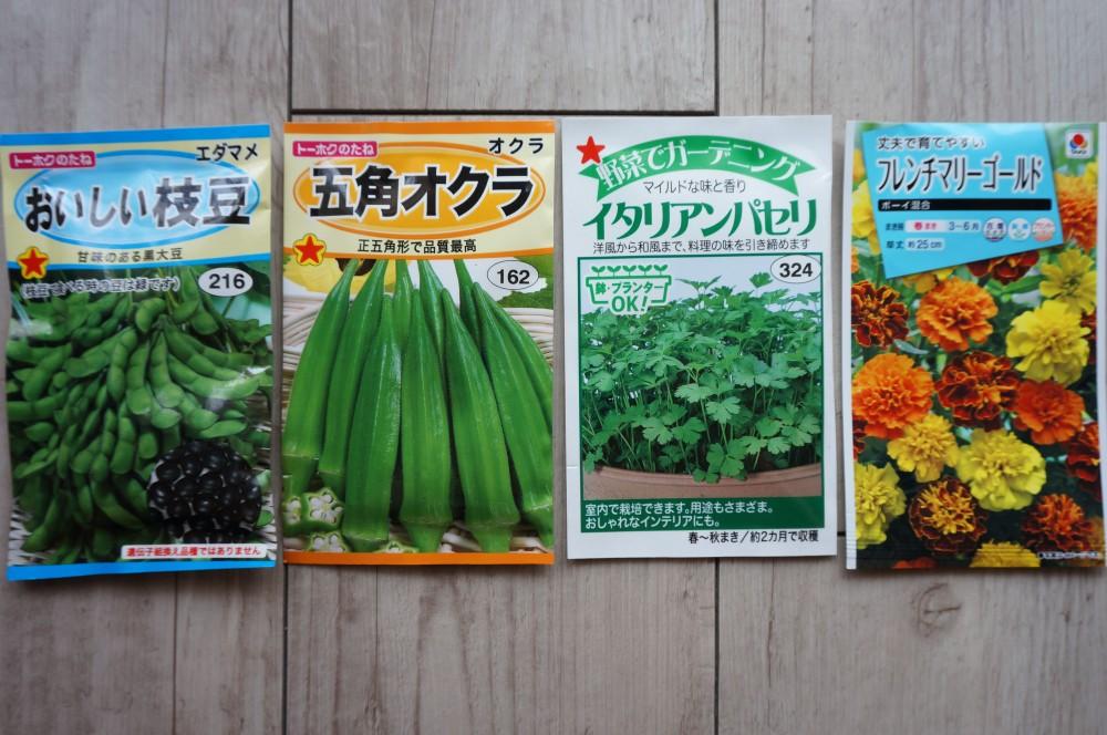 枝豆,オクラ,イタリアンパセリ,マリーゴールドの育苗